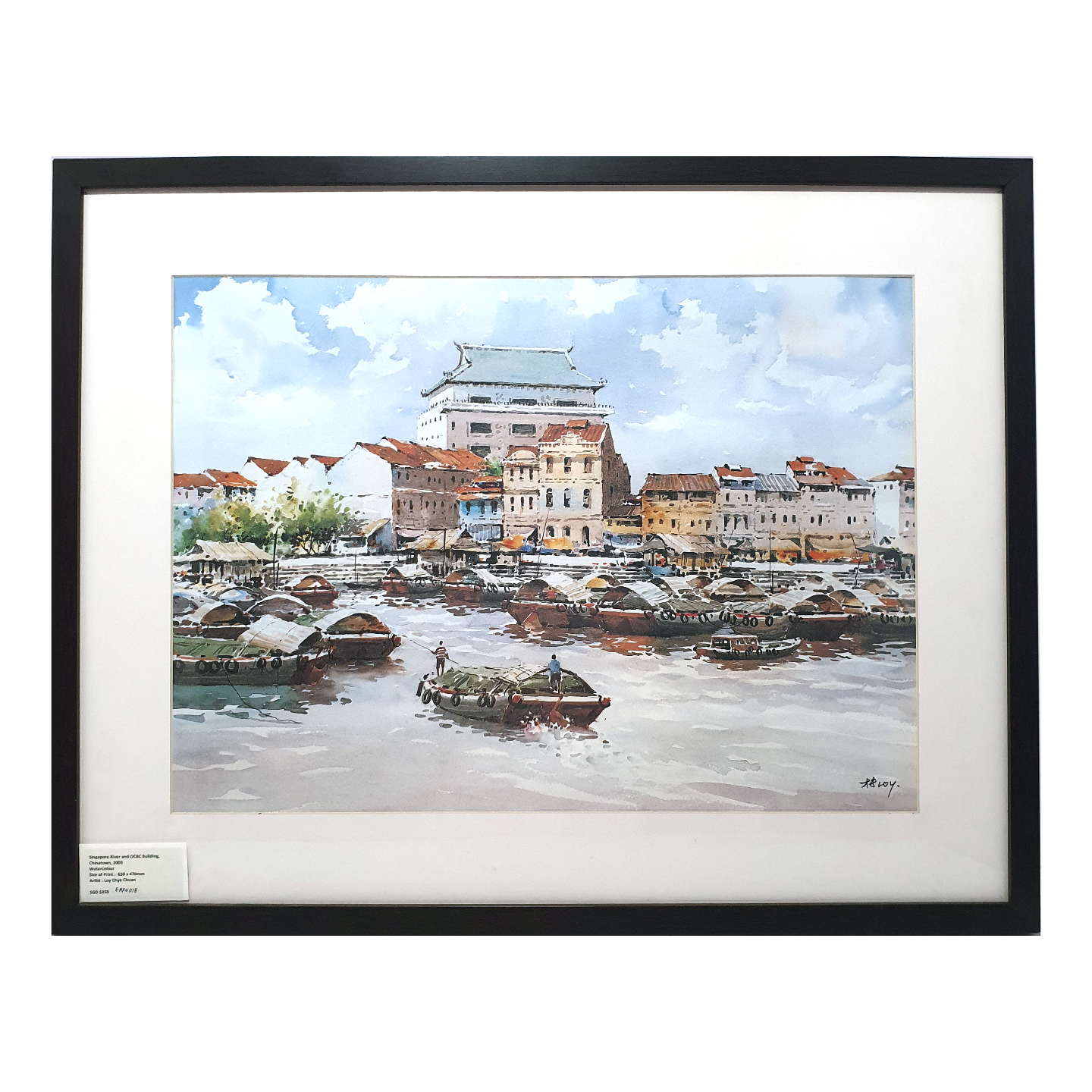 Heritage Water Colour Painting  Singapore River & OCBC Building, Chinatown by Loy Chye Chuan