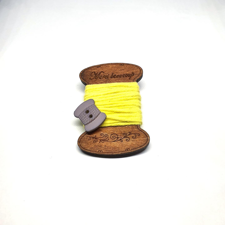 Handmade Brooch: Flat Thread Spool (Plain Yellow 3) by Doe & Audrey