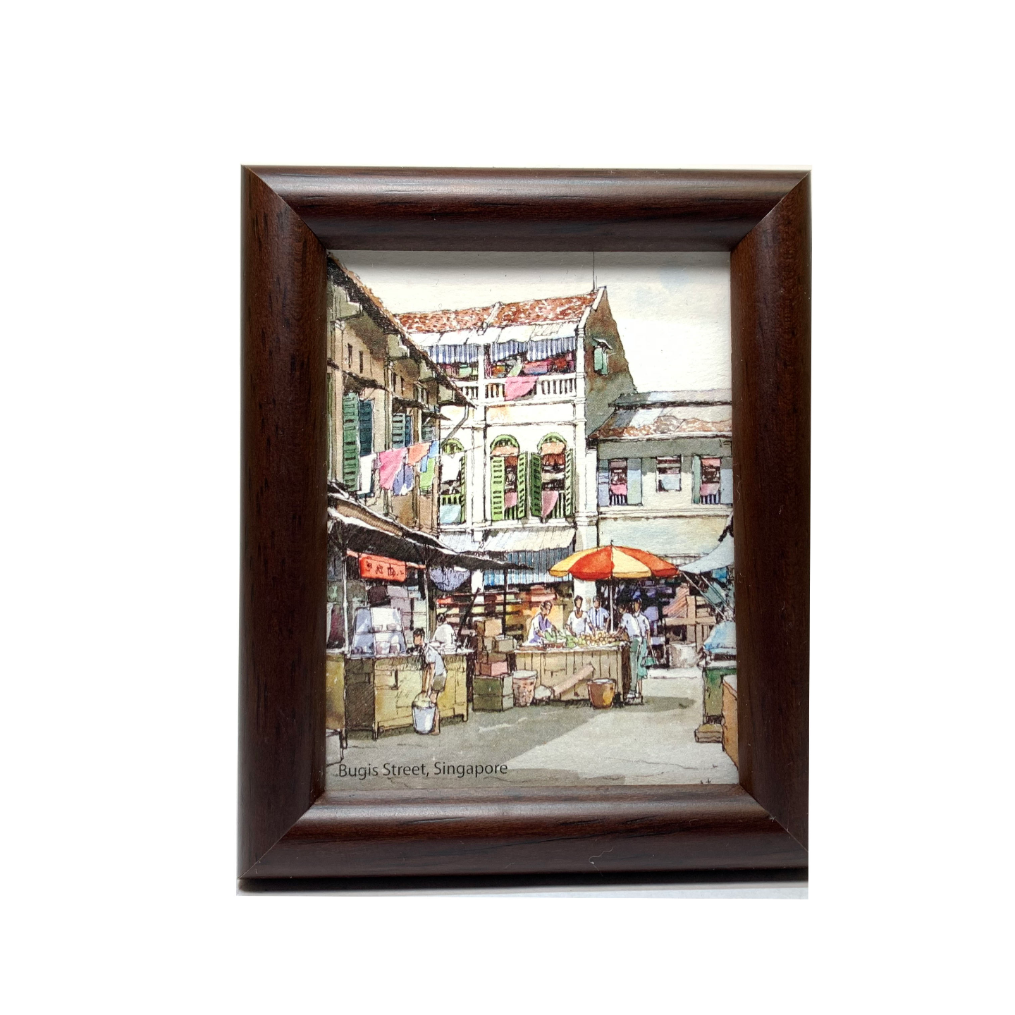 Mini Artframe Water Colour Magnet: Bugis Street (Portrait) by Loy Chye Chuan