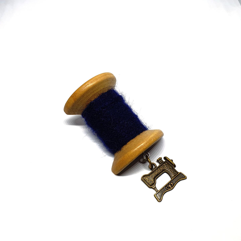 Handmade Brooch: Large Thread Spool (Plain Dark Blue 2) by Doe & Audrey