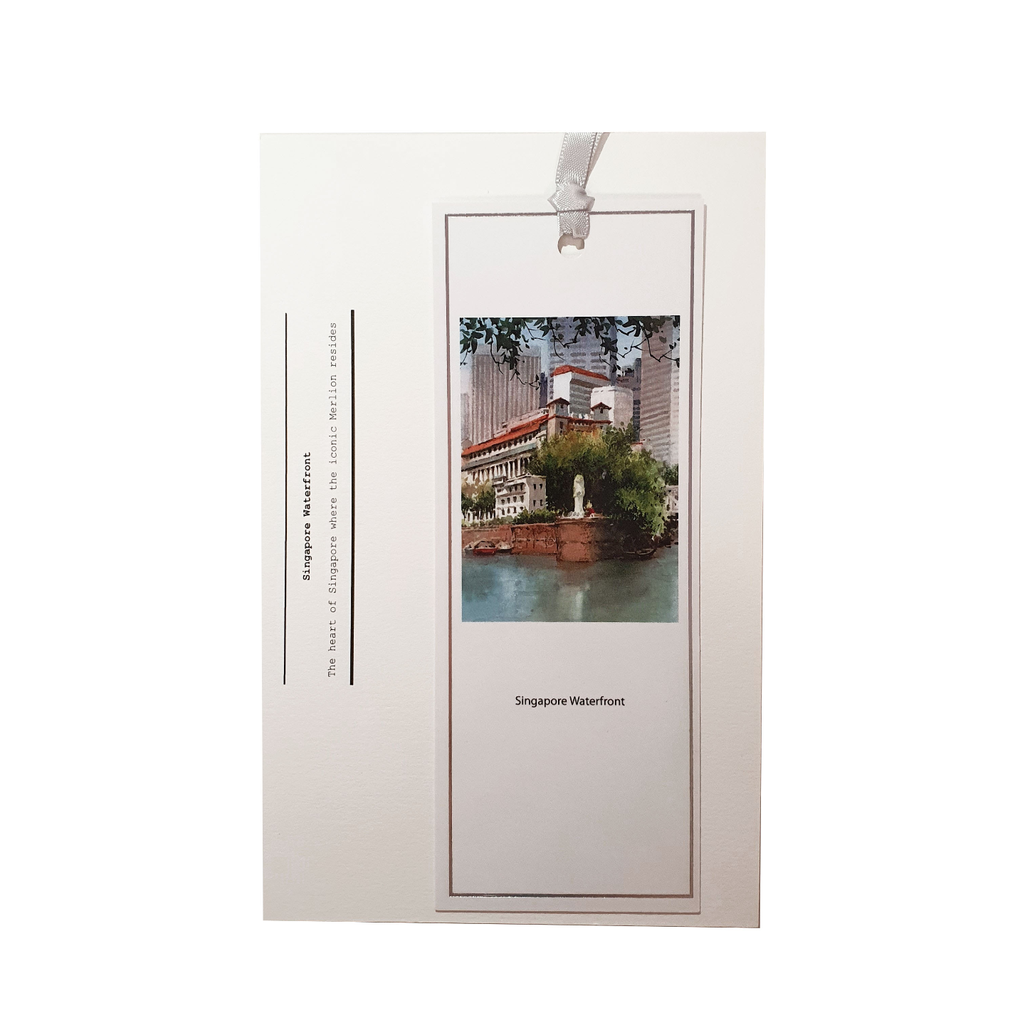 Heritage Water Colour Bookmark Singapore Waterfront by Loy Chye Chuan
