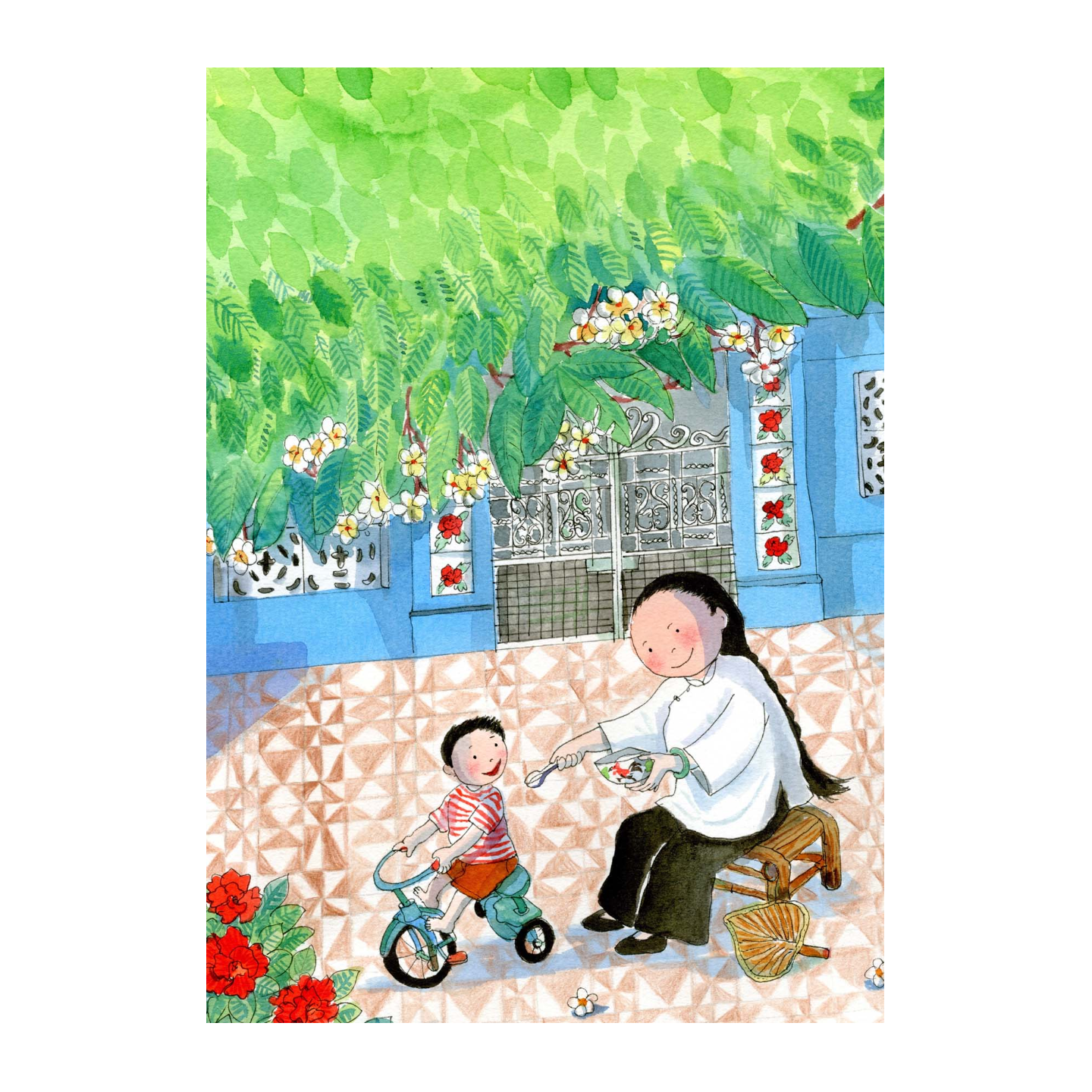 Heritage Postcard Majie feeding Child by Patrick Yee