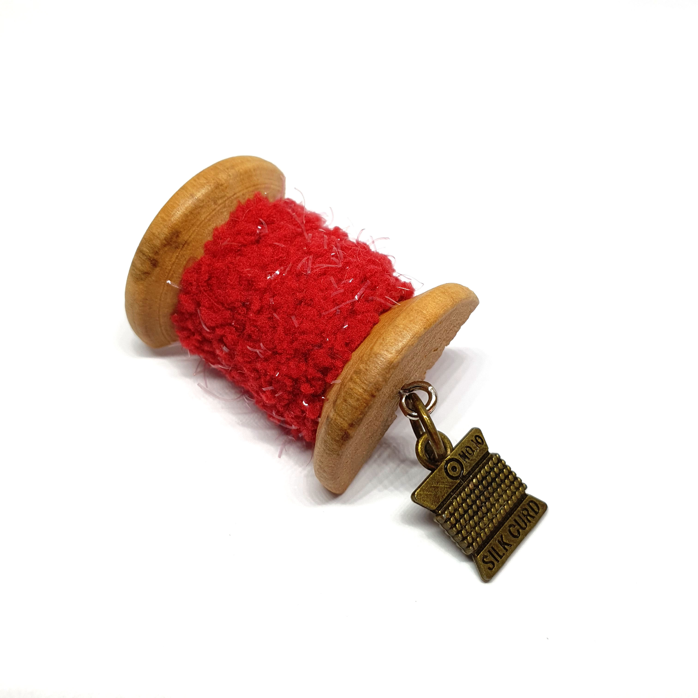 Handmade Brooch: Small Thread Spool (Plain Red 3) by Doe & Audrey