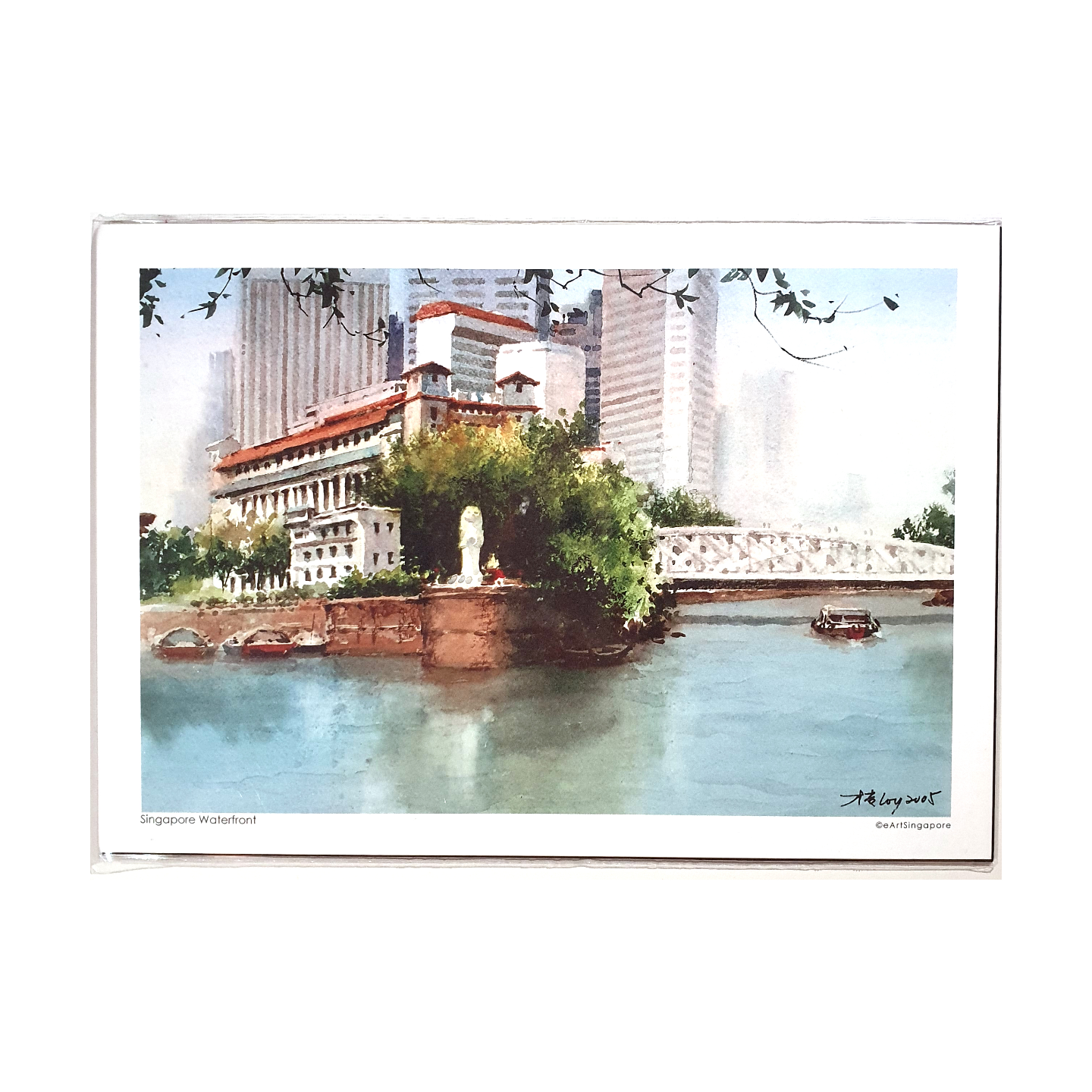 Heritage Watercolour Print A5 Singapore Waterfront by Loy Chye Chuan
