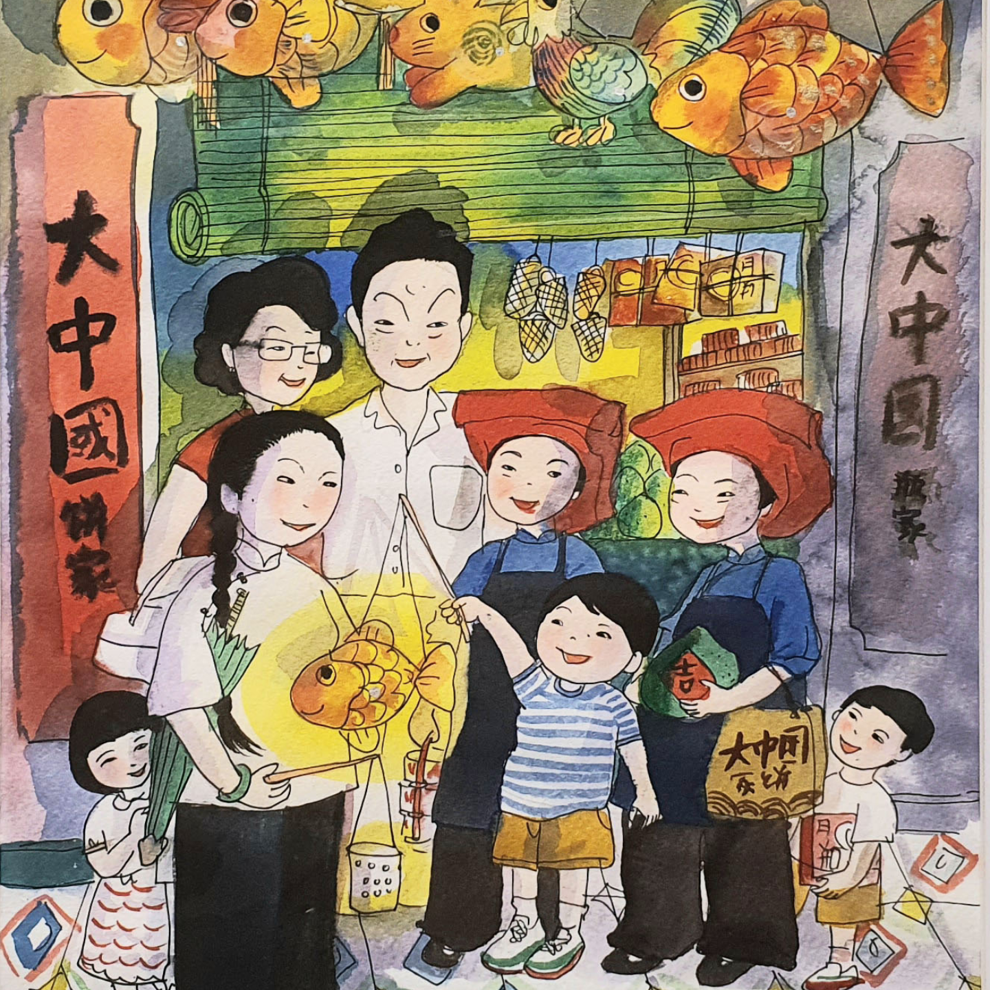 Original Heritage Painting Mid-Autumn at Chinatown by Patrick Yee