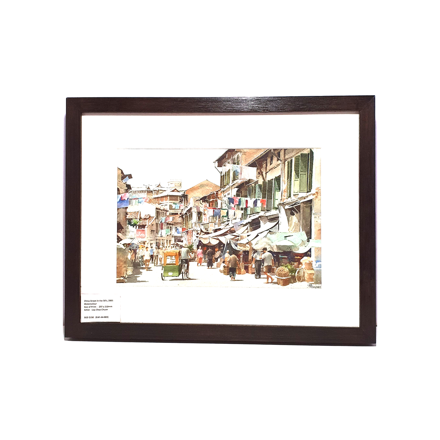 Heritage Water Colour Painting  China Street in the 50s by Loy Chye Chuan