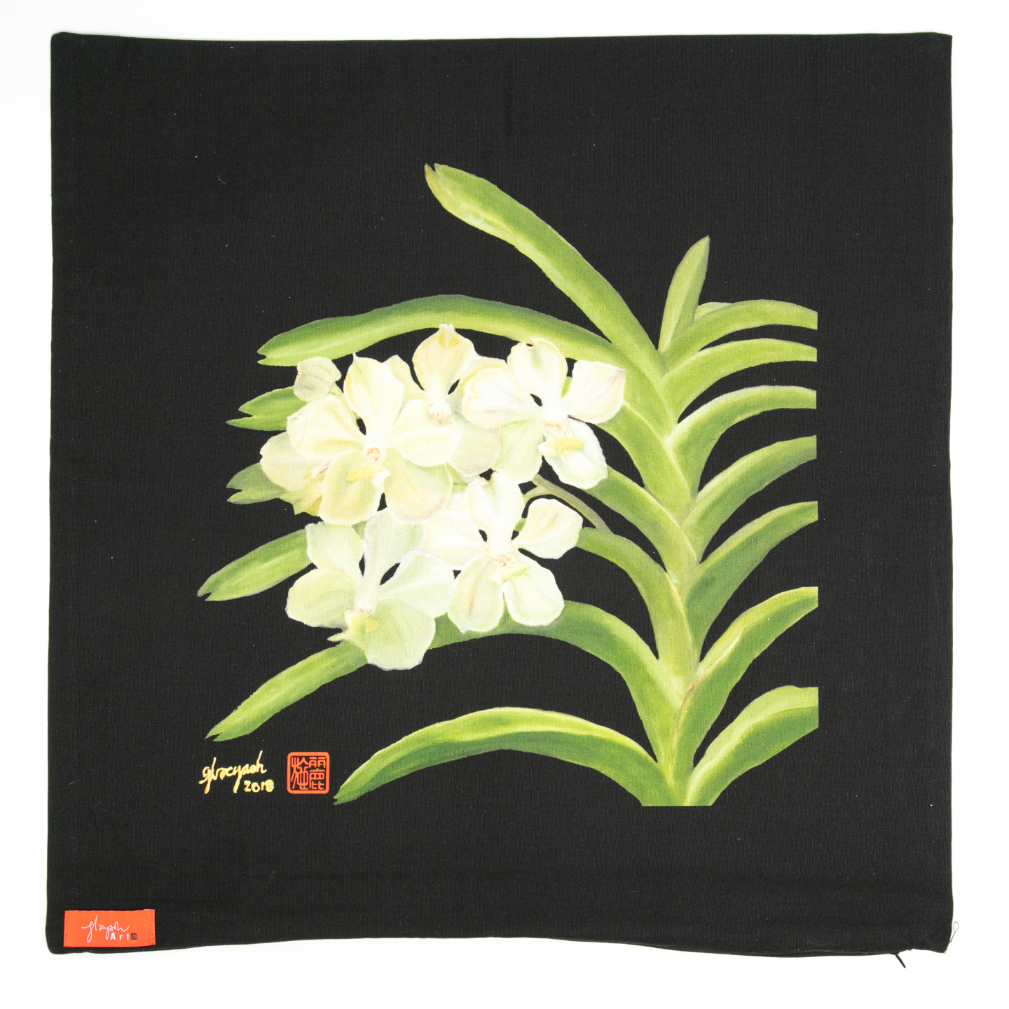 SOS 5 Orchids Cushion Cover - Vanda Kwa Geok Choo