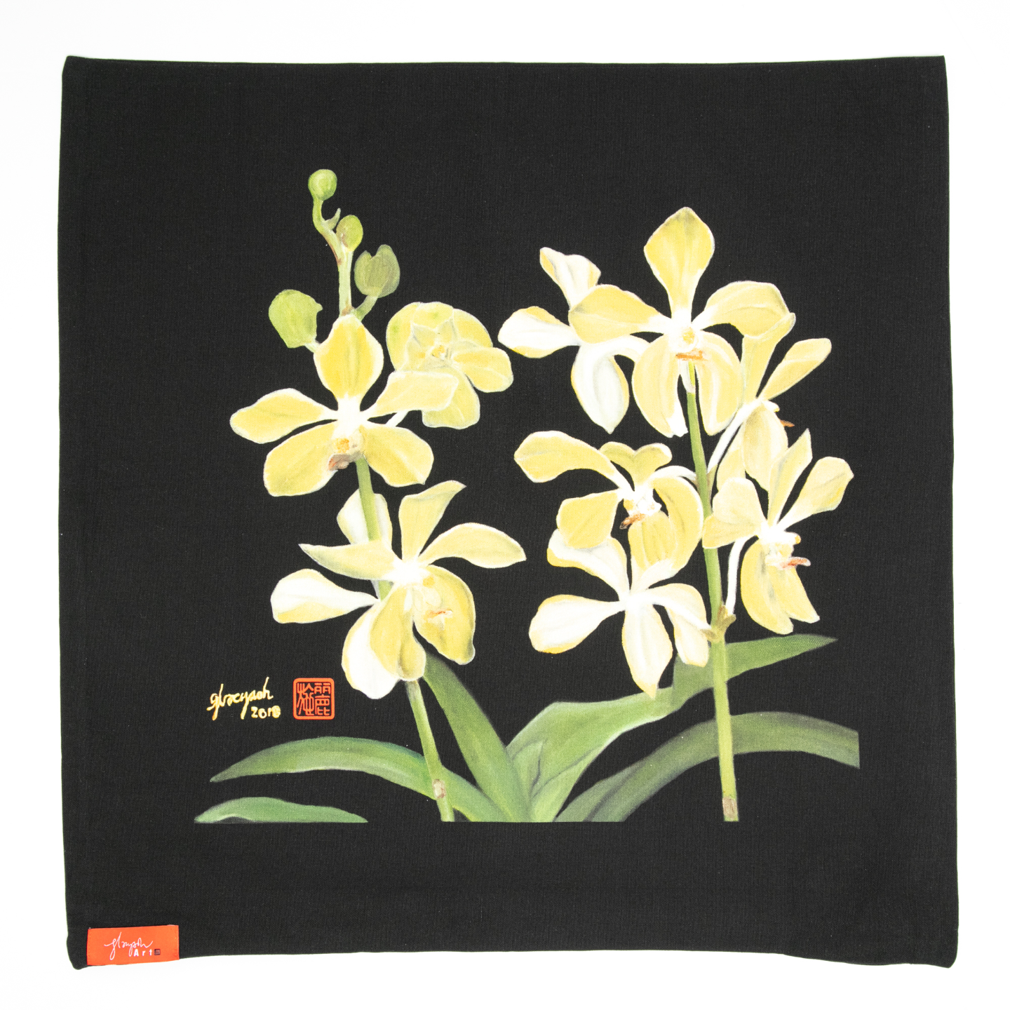 SOS 5 Orchids Cushion Cover - Aranda Lee Kuan Yew
