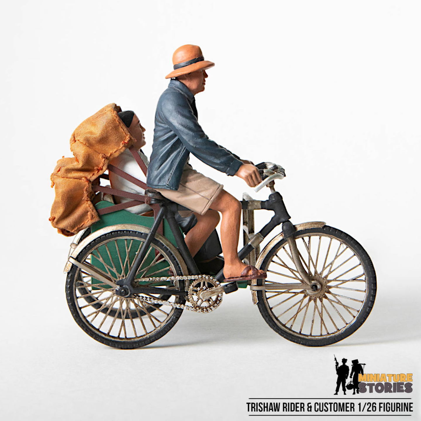 Trishaw Rider and Customer Figurine
