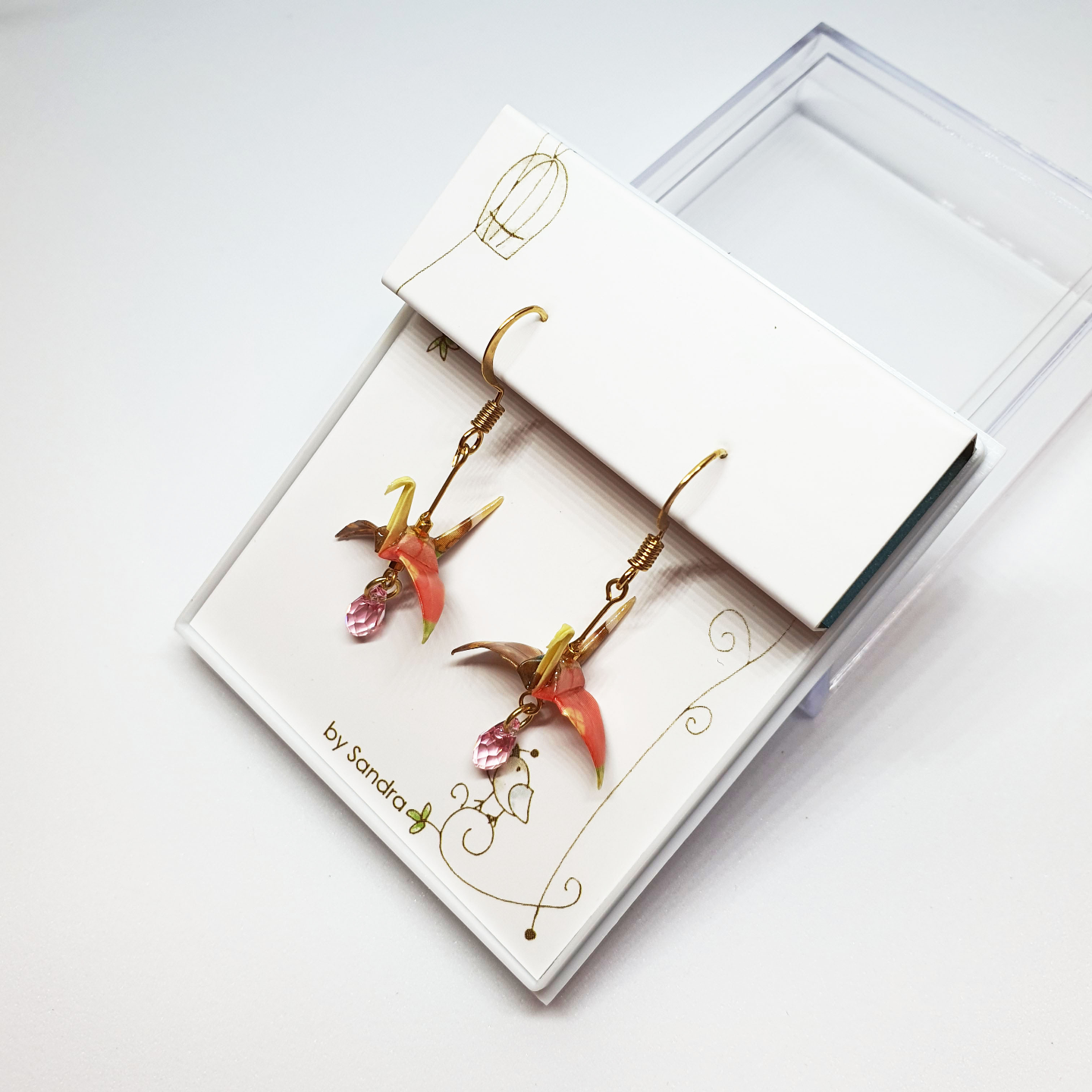 Fashion Accessories  Paper Crane Earrings Red by Sandra My Paper Earrings