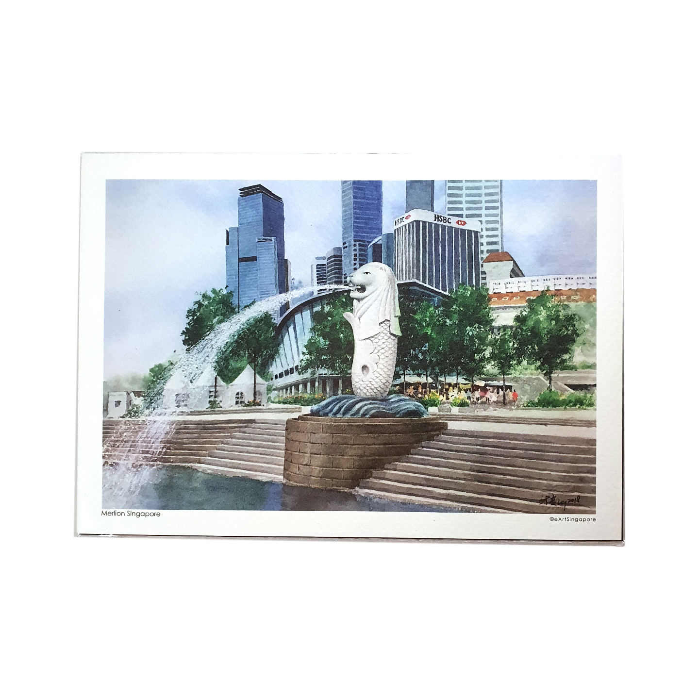 Heritage Watercolour A5 Print: Merlion Singapore by Loy Chye Chuan