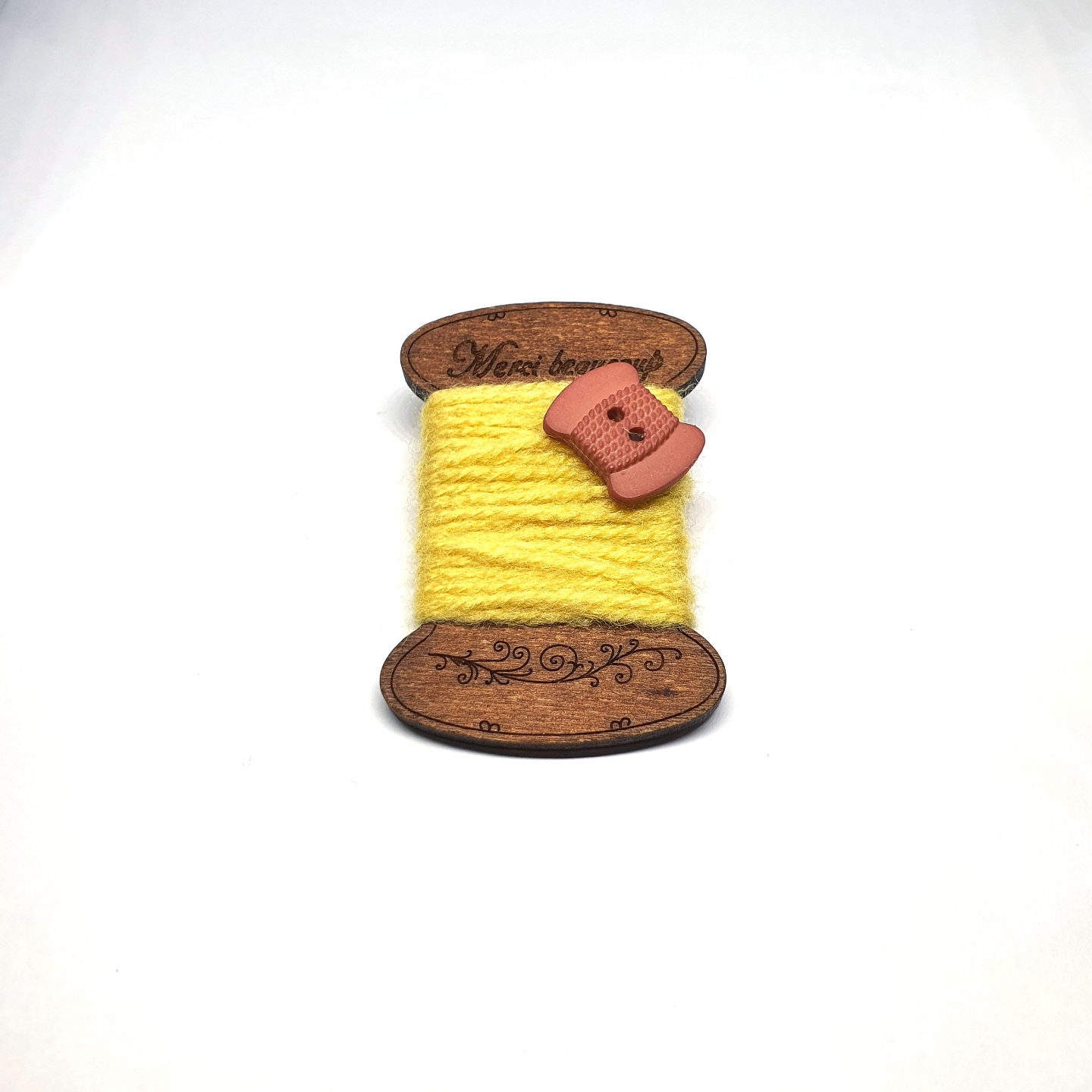 Handmade Brooch: Flat Thread Spool (Plain Yellow 2) by Doe & Audrey