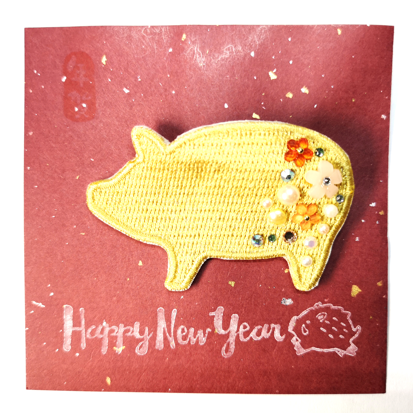 Handmade Brooch Piggy Brooch Gold by Doe & Audrey