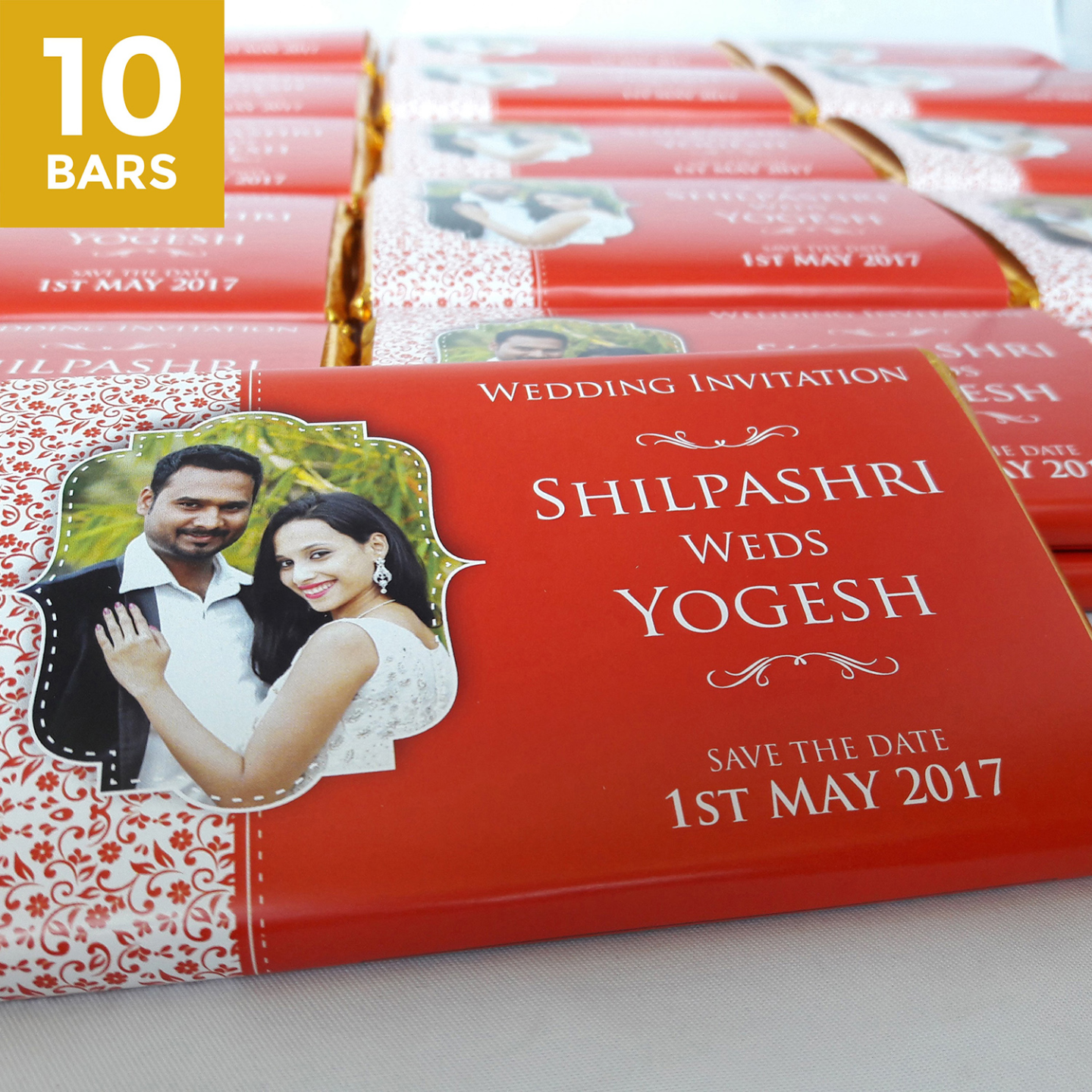 Wedding Return Gifts, Personalize Chocolates -10 Bars