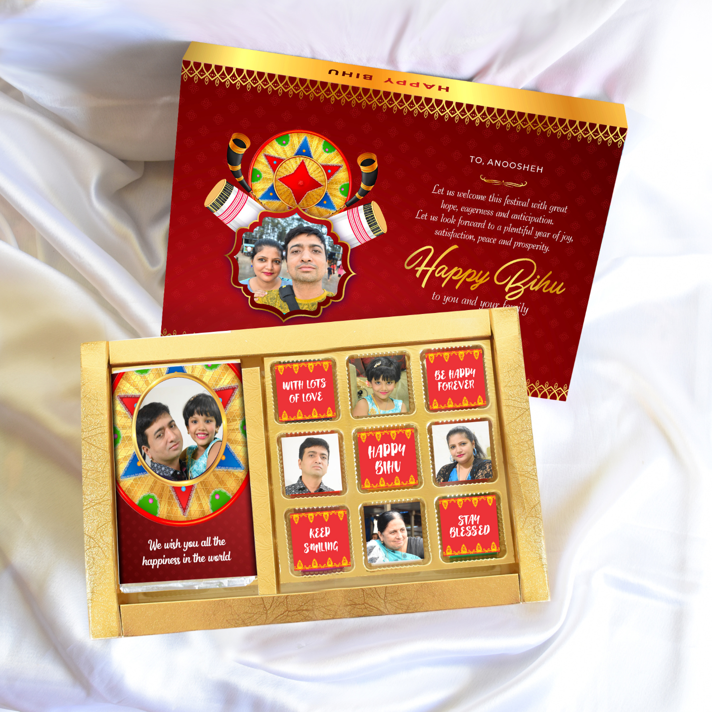 Bihu Gift Box, Personalized Assorted Chocolate (1 Bar + 9 Cubes)
