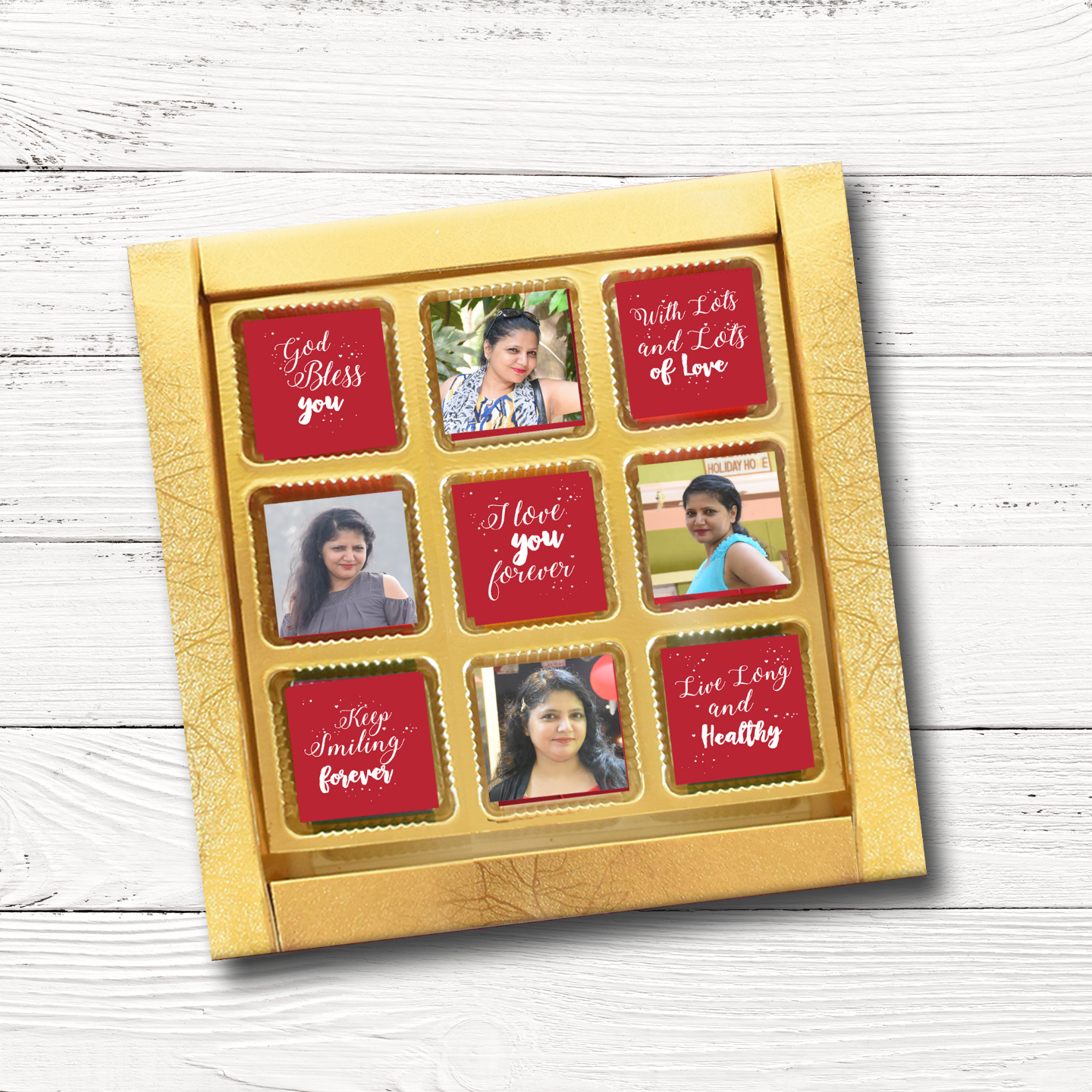 Valentine's Day Gift Box, Personalized Assorted Chocolate (9 Cubes)