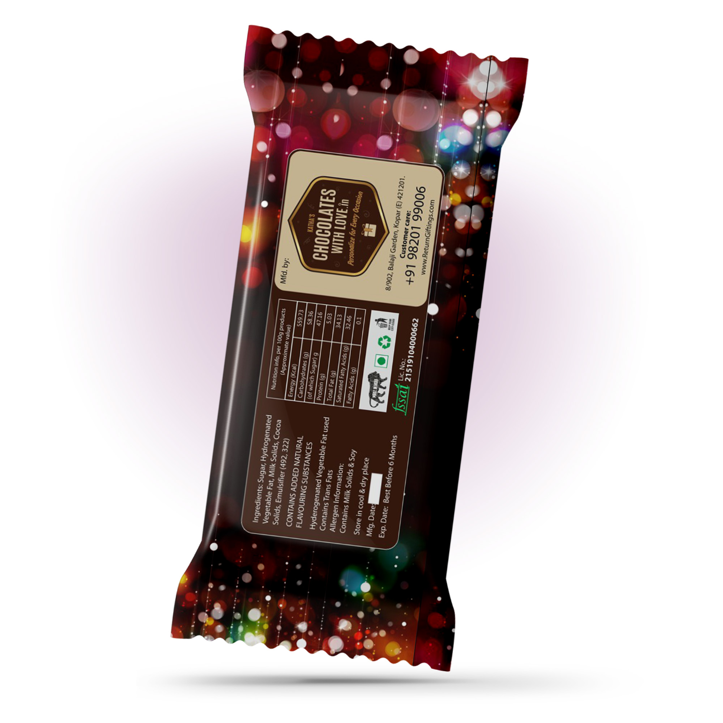 New Year Gift, Personalize Chocolate Bar 100g