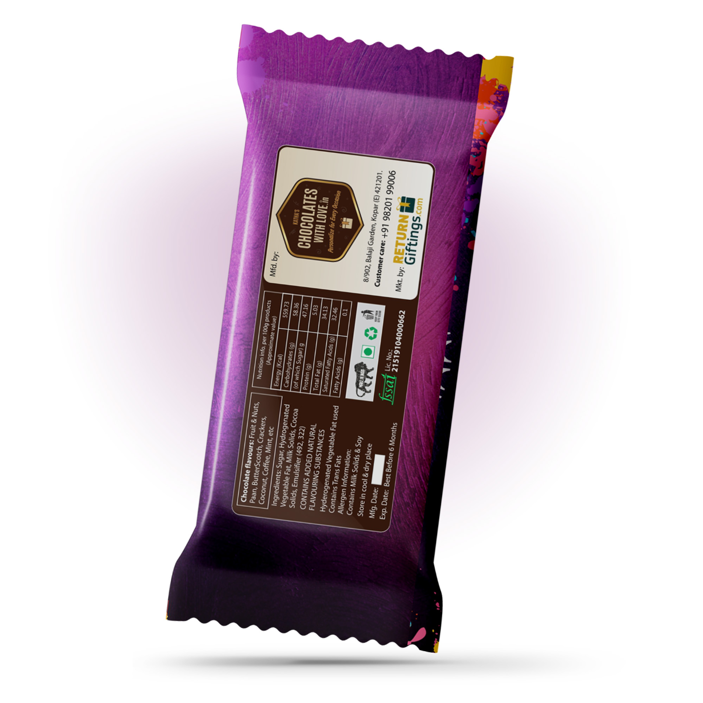 Holi Gift, Personalize Chocolate Bar 100g