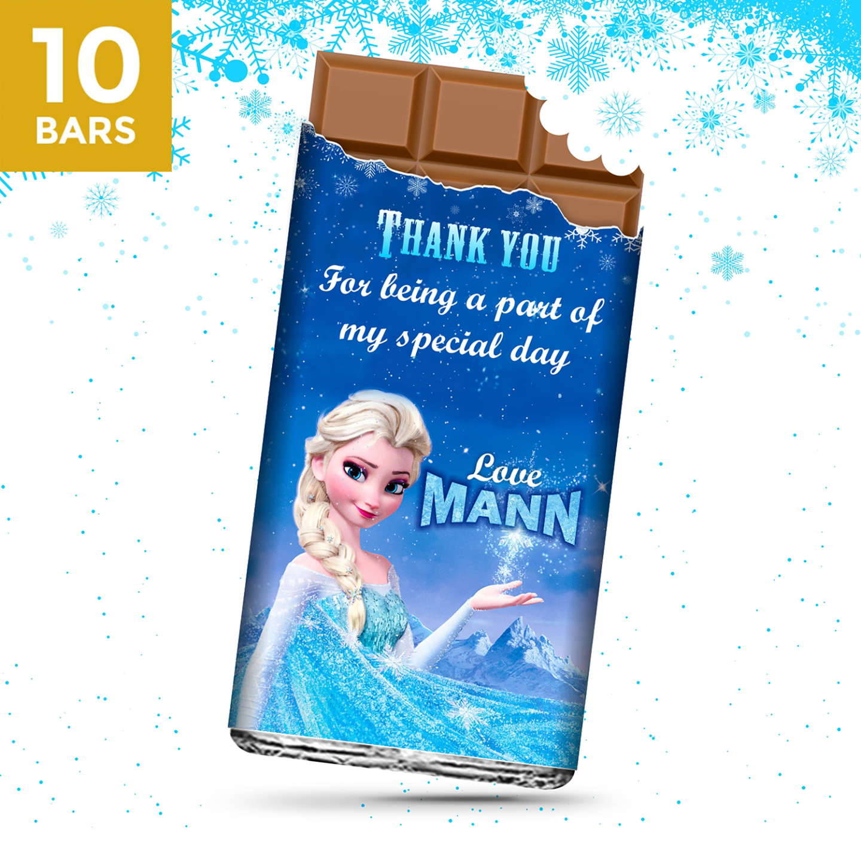 Birthday Return Gifts, Frozen Personalize Chocolates -10 Bars