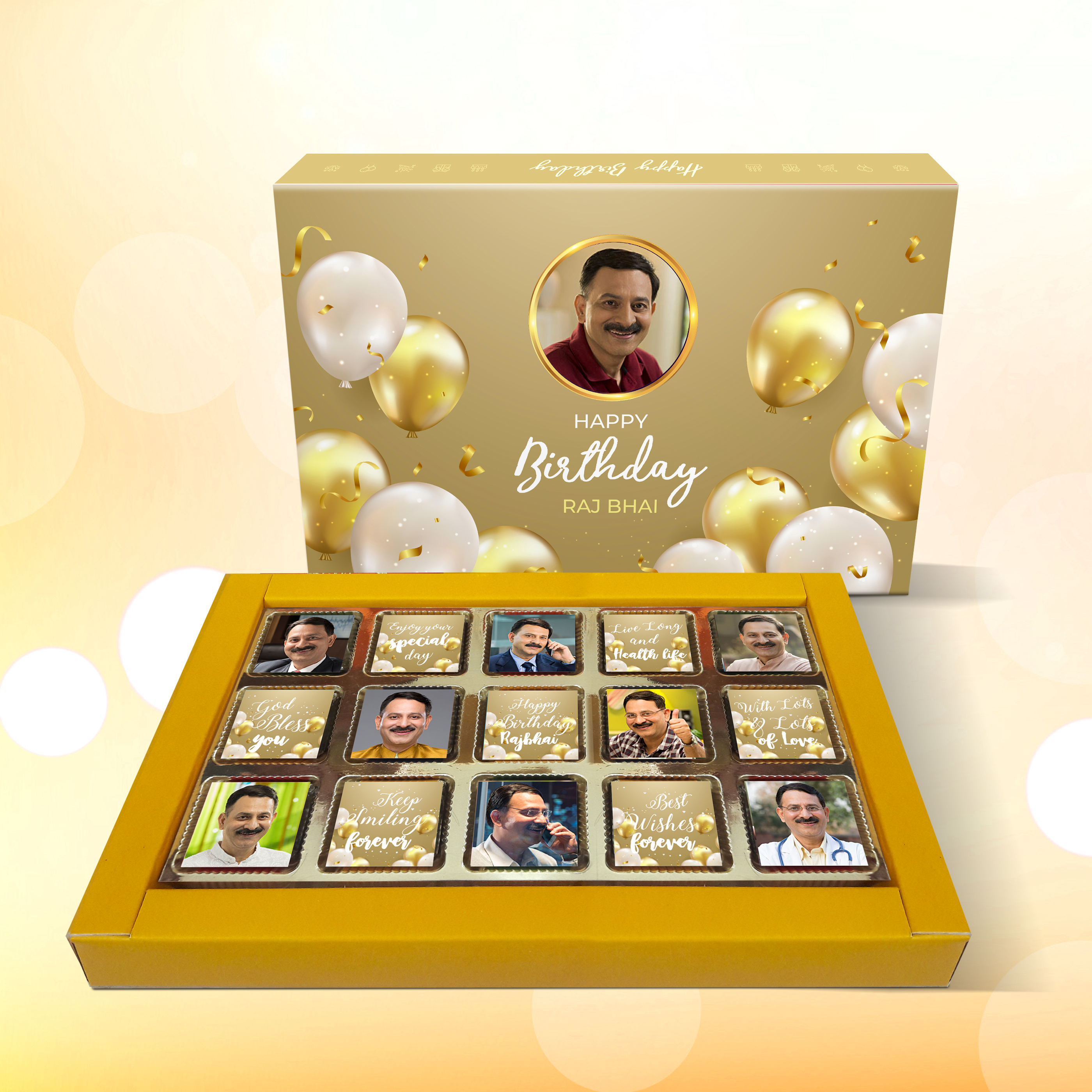 Birthday Gift, Personalized Chocolate Gold Box