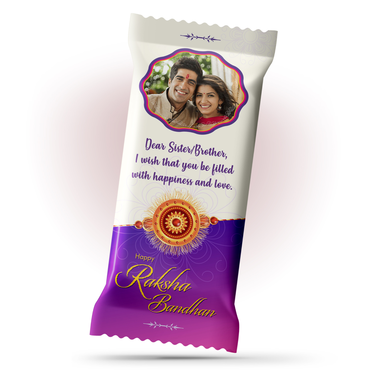 Raksha Bandhan Gift, Personalized Chocolate Large Bar 100g