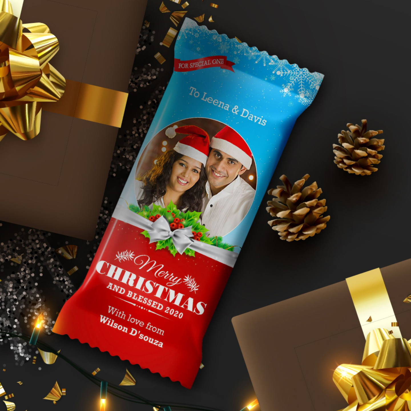 Christmas Gift, Personalize Chocolate Bar 100g