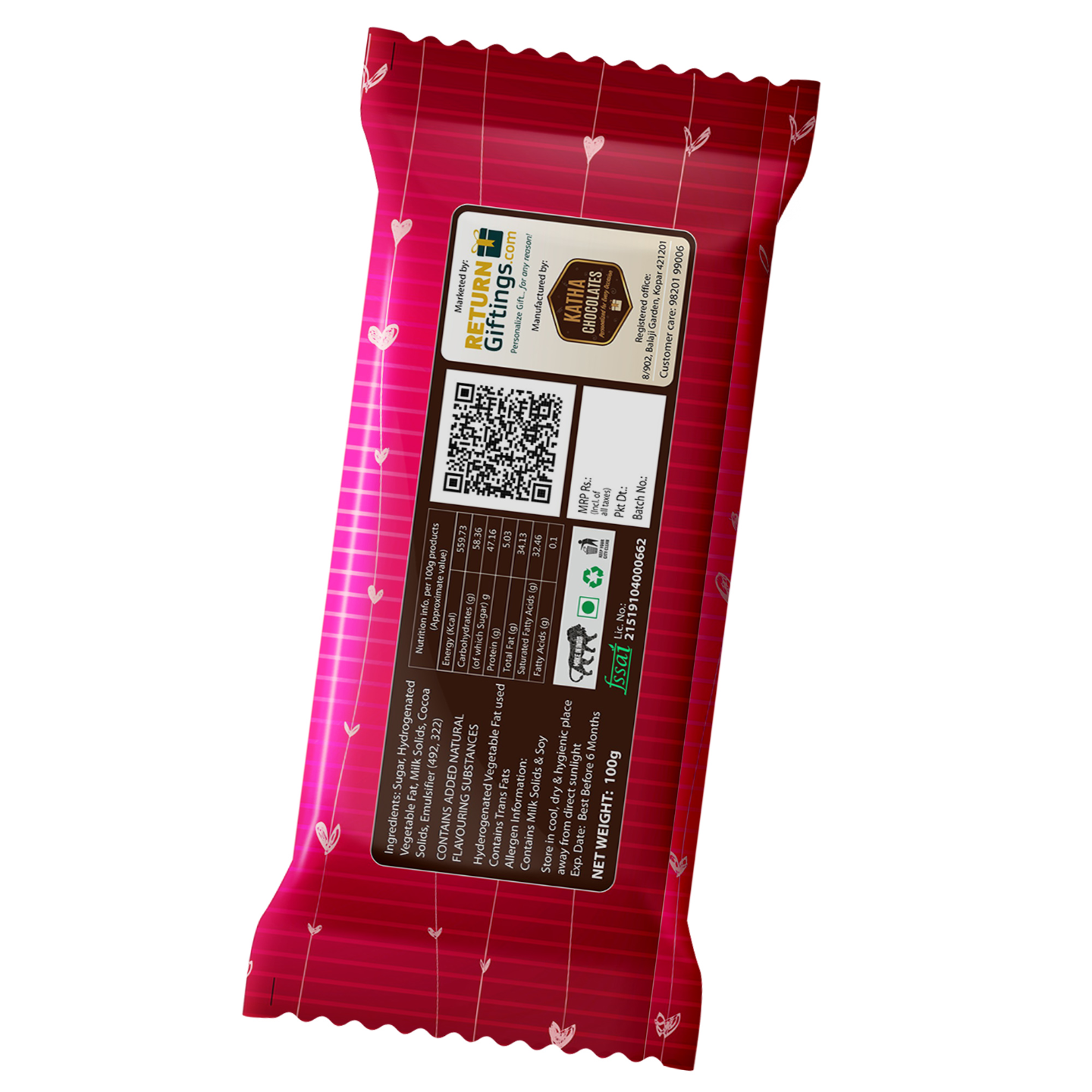 Valentine's Day Gift, Chocolate Large Bar (100g)