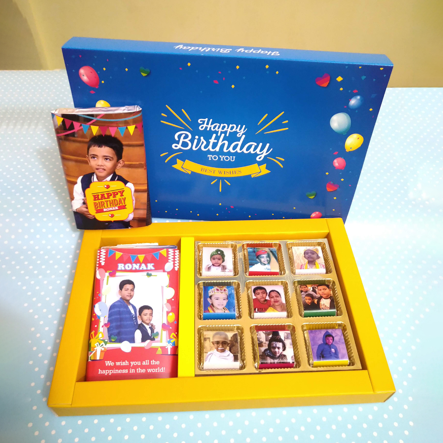 Birthday Gift Blue Box, Personalized Assorted Chocolate (2 Bars + 9 Cubes)