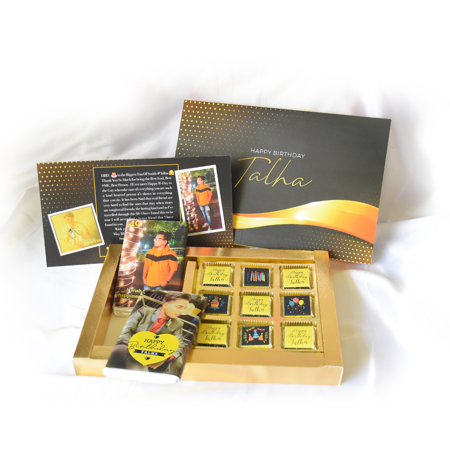 Birthday Gift Box, Personalized Assorted Chocolate (2 Bars + 9 Cubes + Greeting Card)