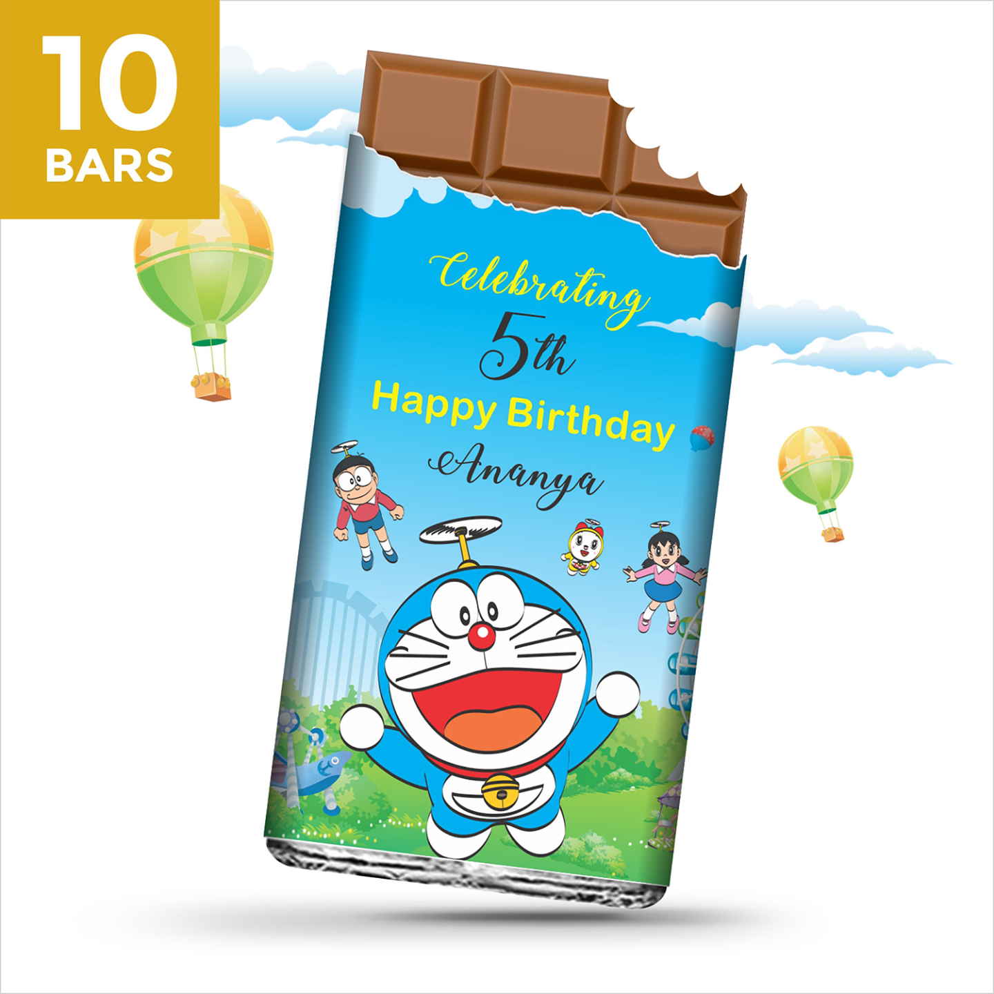 Birthday Return Gifts, Doraemon Personalize Chocolates -10 Bars