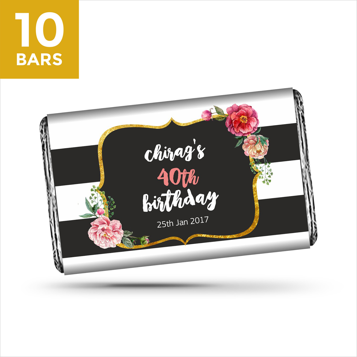 Birthday Return Gifts, Personalize Chocolates -10 Bars