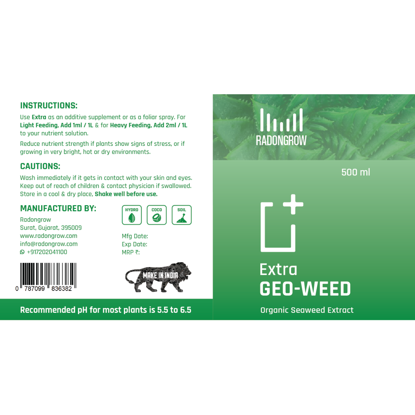 Radongrow GEOWEED (Seaweed +Amino Acid) 500 ml