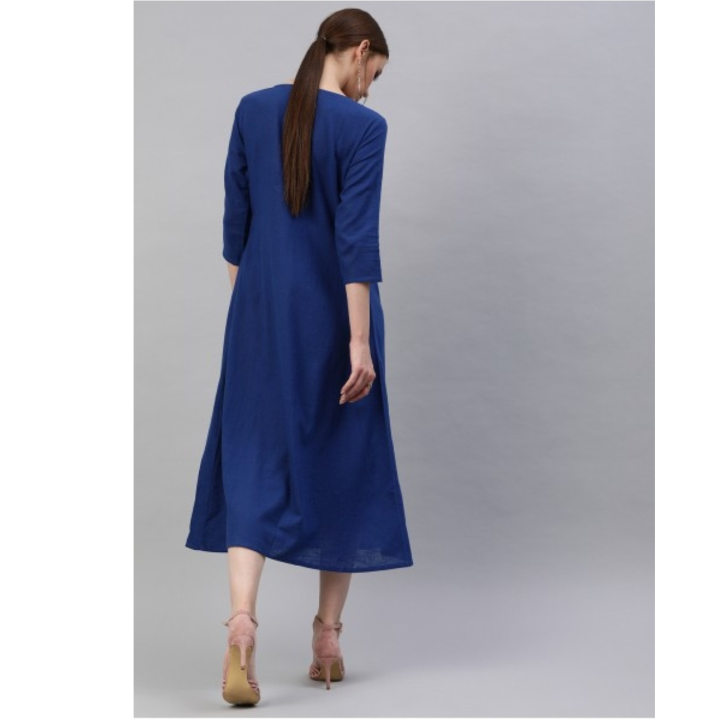 Blue Solid A-Line Dress With Gathers