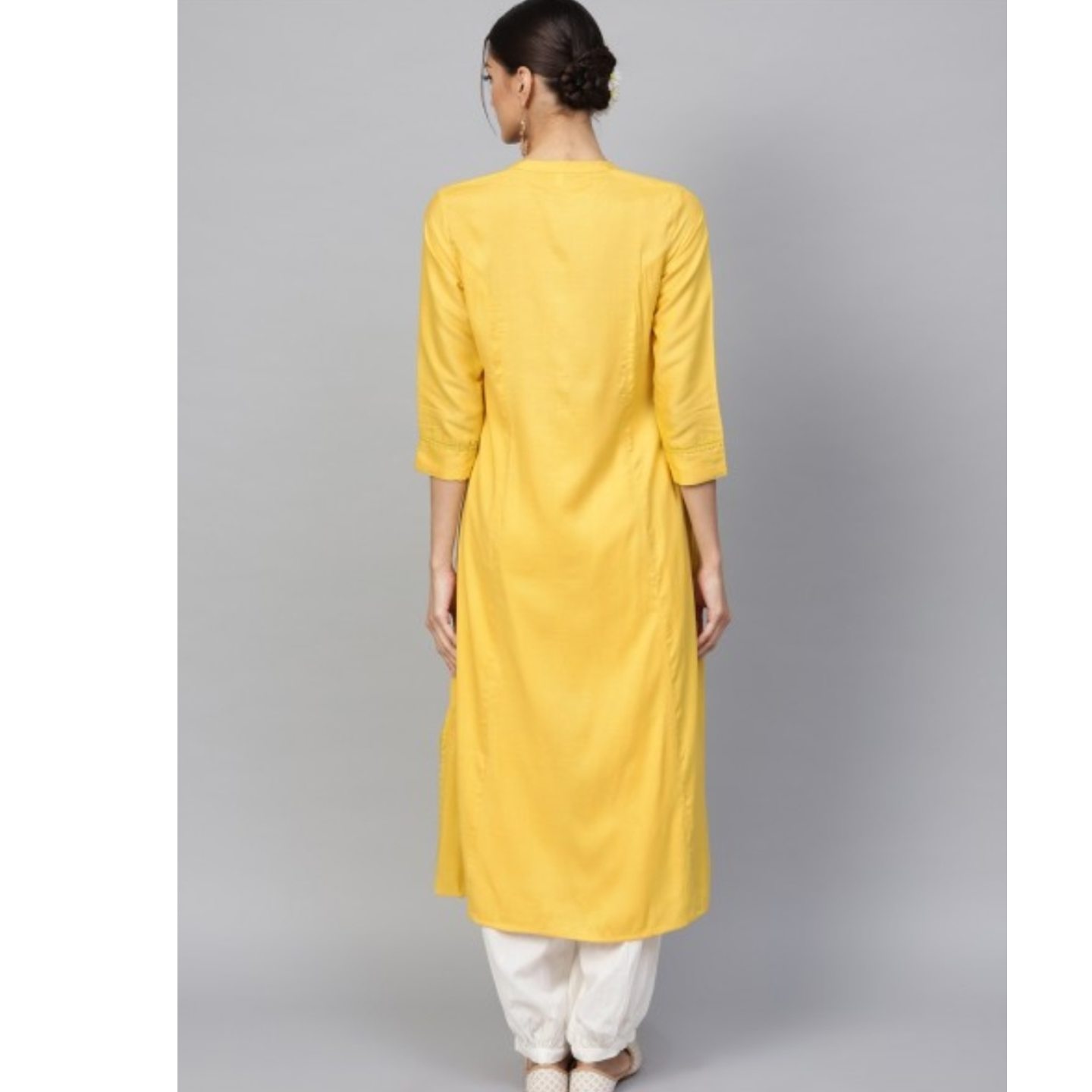Yellow Solid A-Line Kurta With Embroidered Buttton