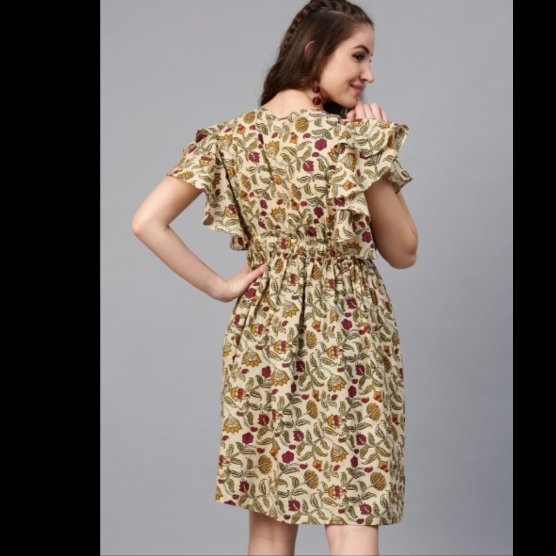 Beige & Maroon Floral Printed Skater Dress