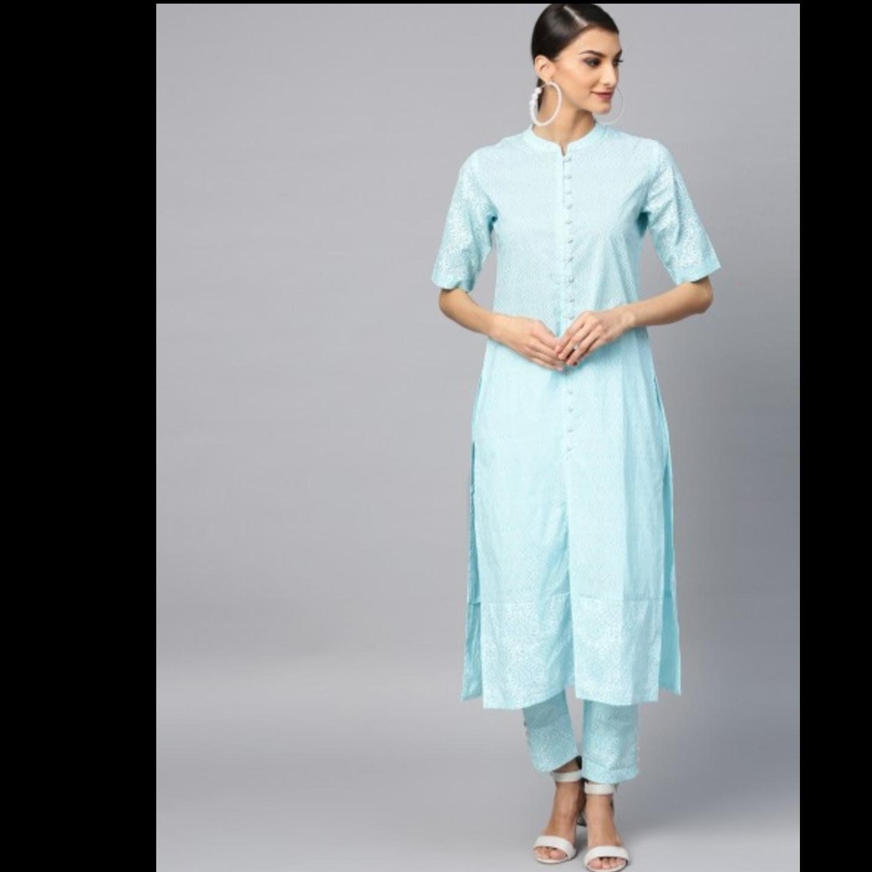 Turquoise Blue Khari Printed Straight Kurta With Pant Set
