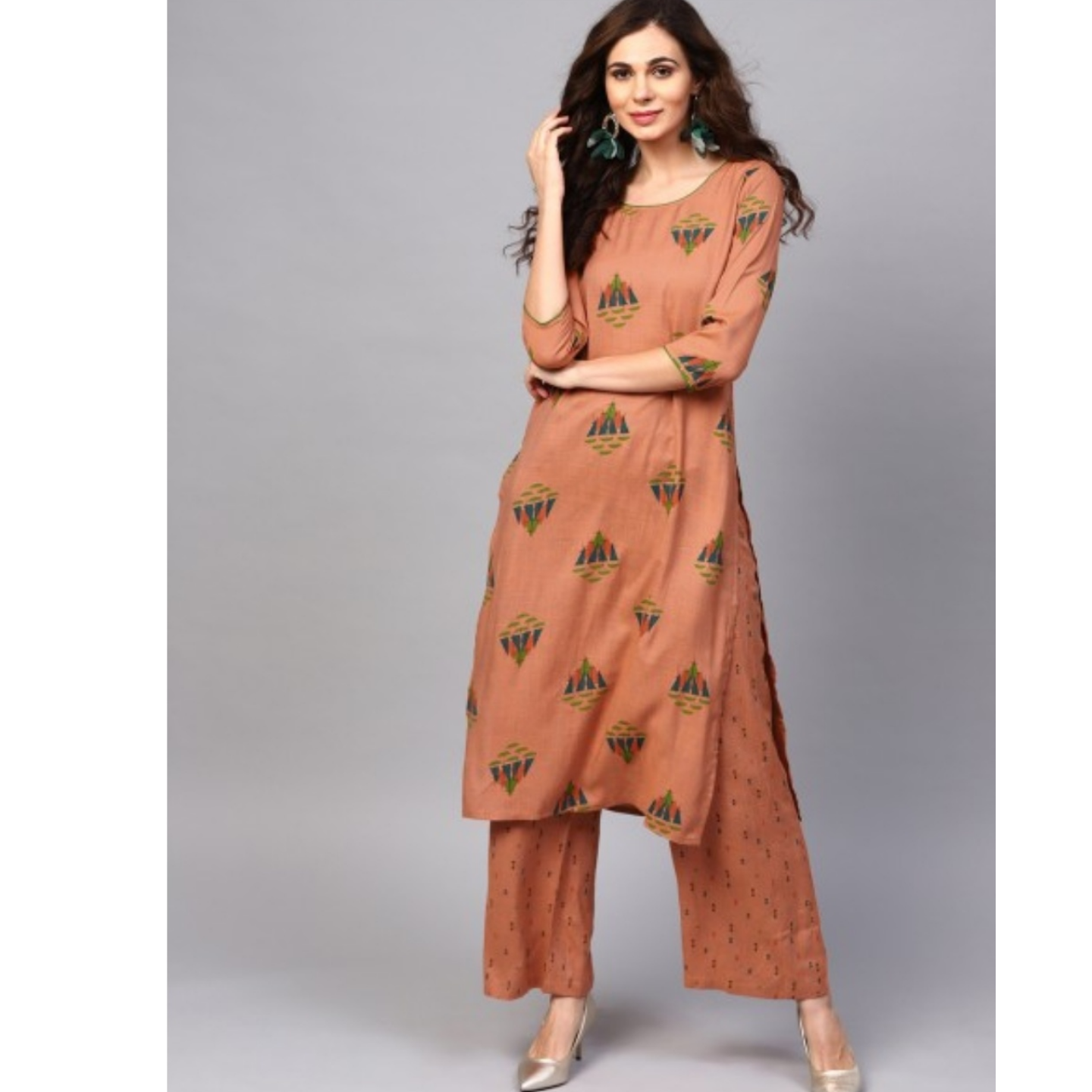 Camel Brown Printed Straight Kurta With Palazzo Set