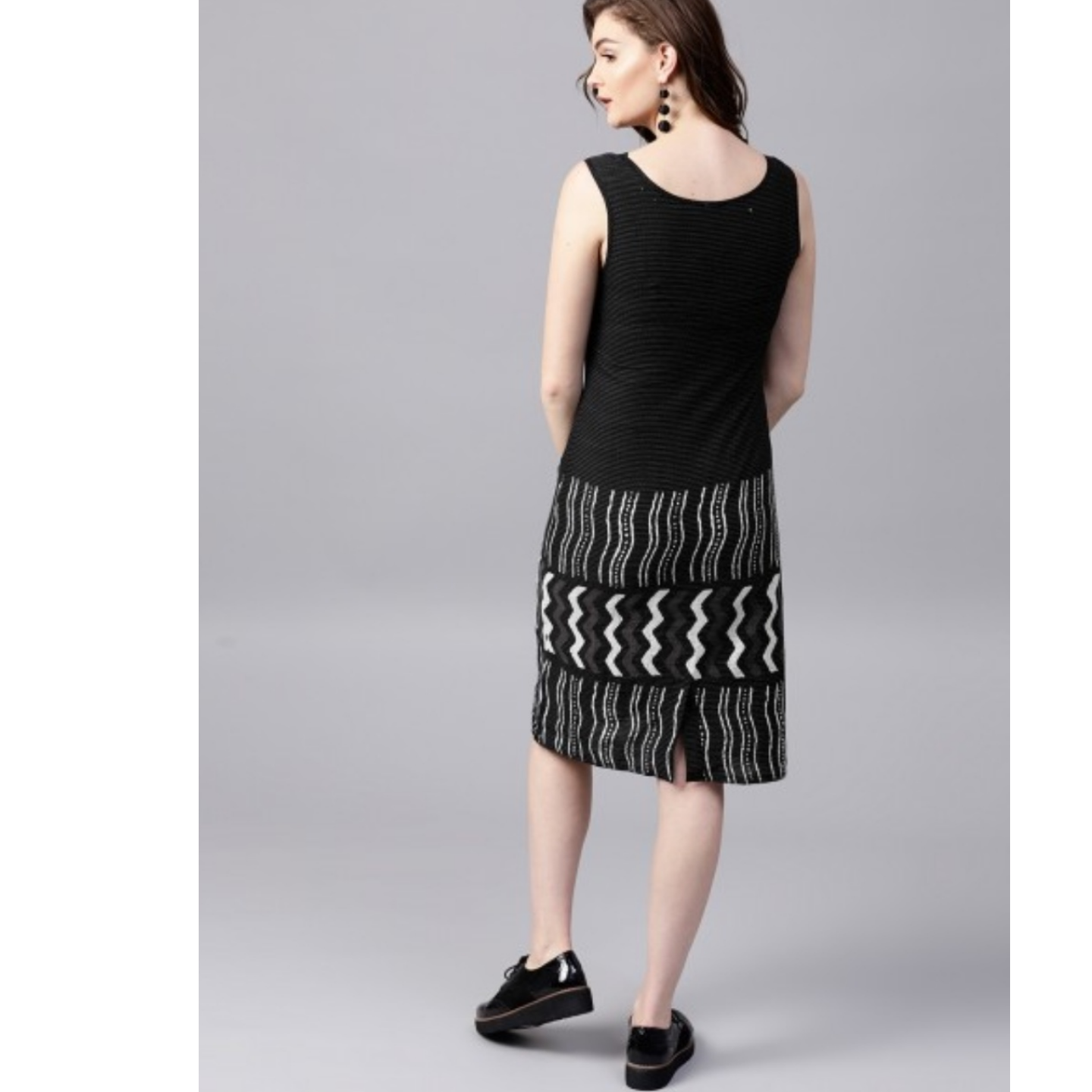 Black & White Kantha Work Sleevless Dress