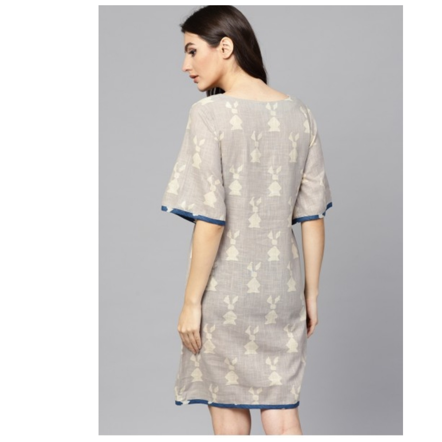 Beige Dabu Printed A-Line Dress