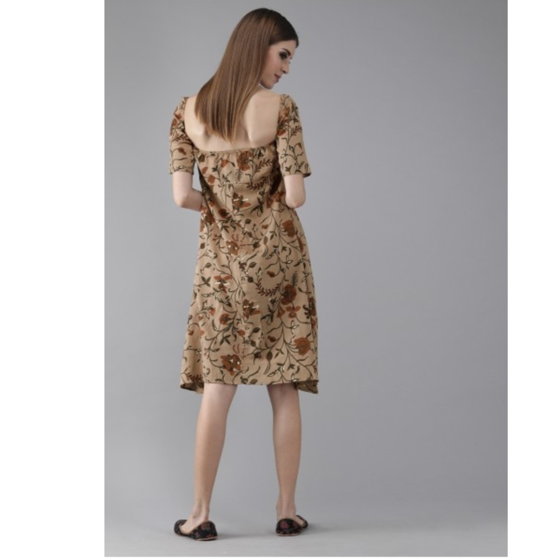 Brown & Green Printed A-Line Dress