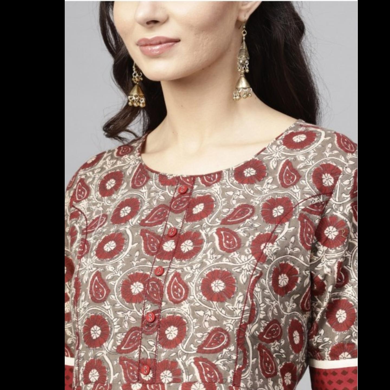 Maroon & Grey Floral Printed Flared Anarkali
