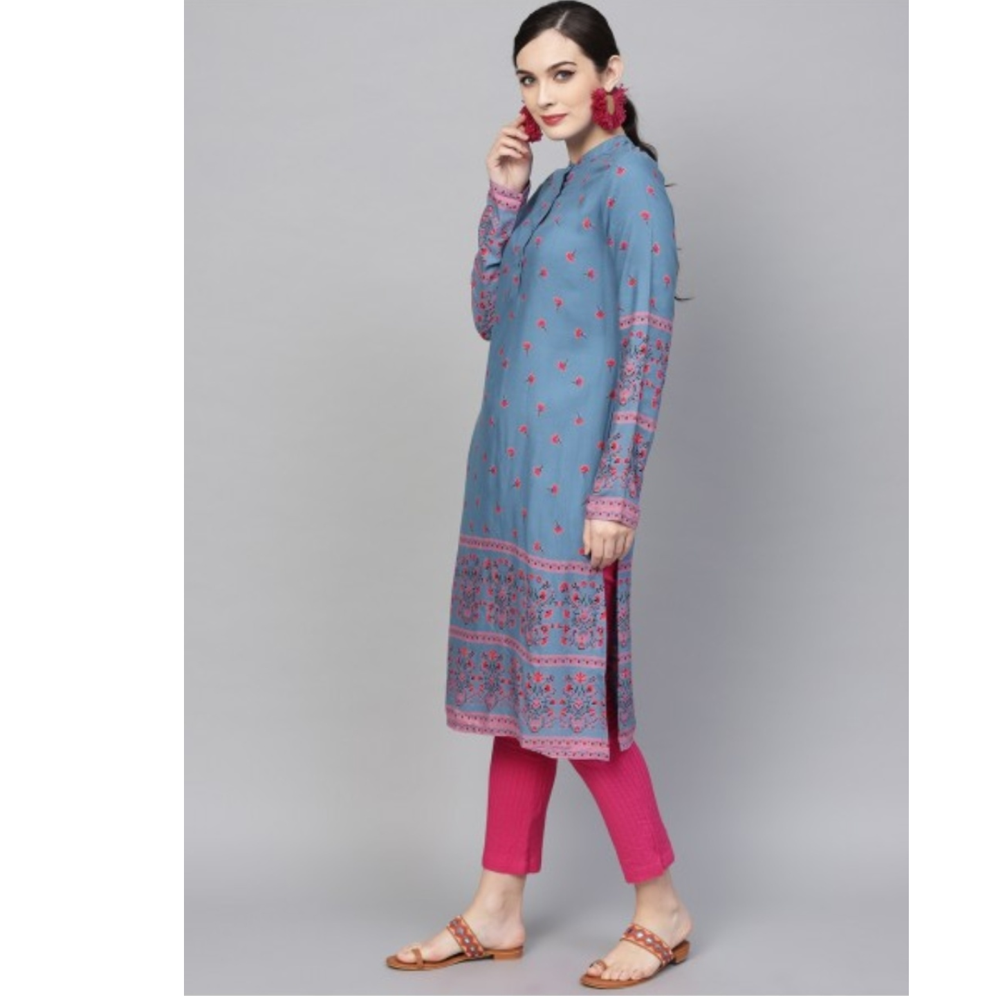 Blue & Pink Printed Straight Kurta
