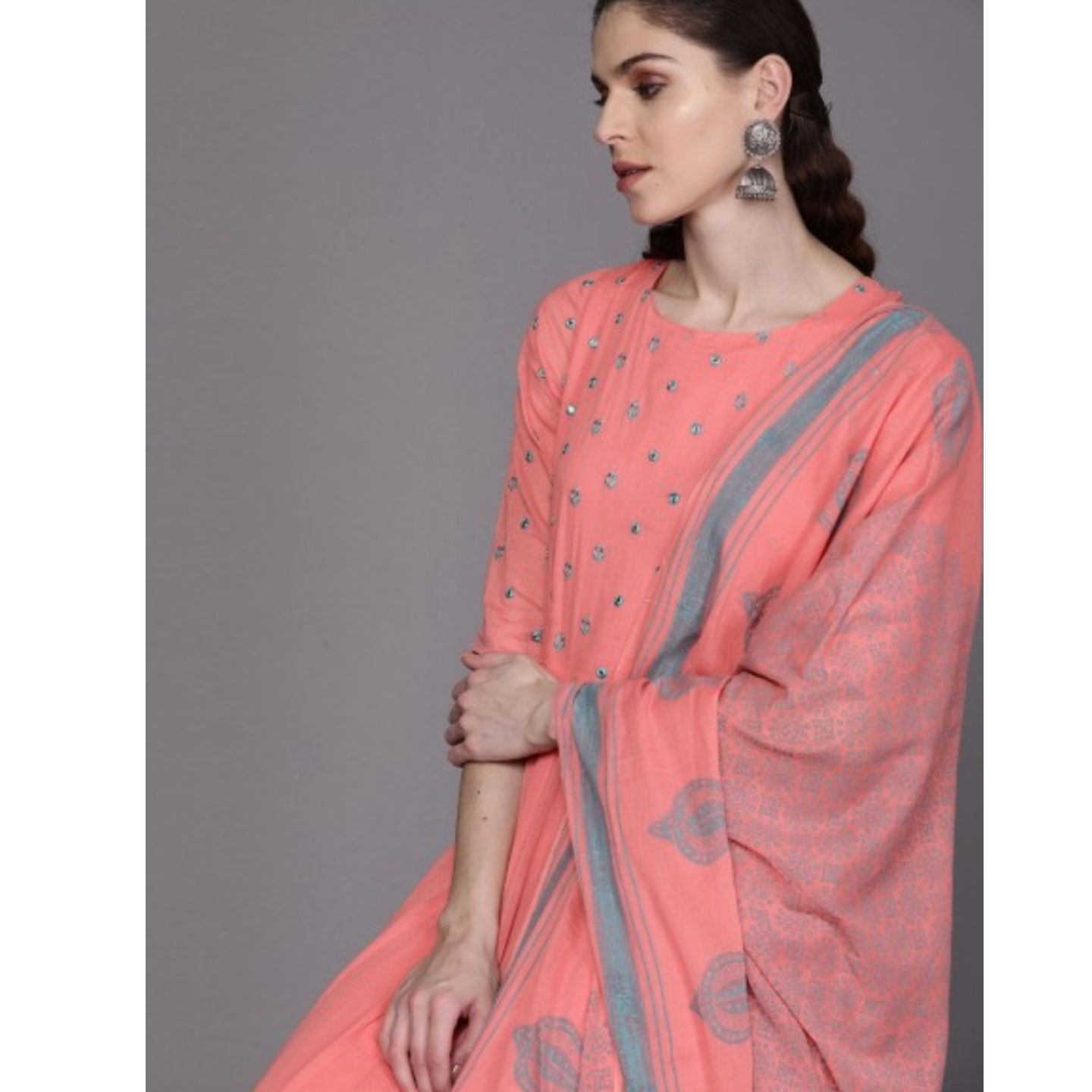 Women Peach-Coloured & Teal Blue Yoke Design Anarkali Kurta With Dupatta