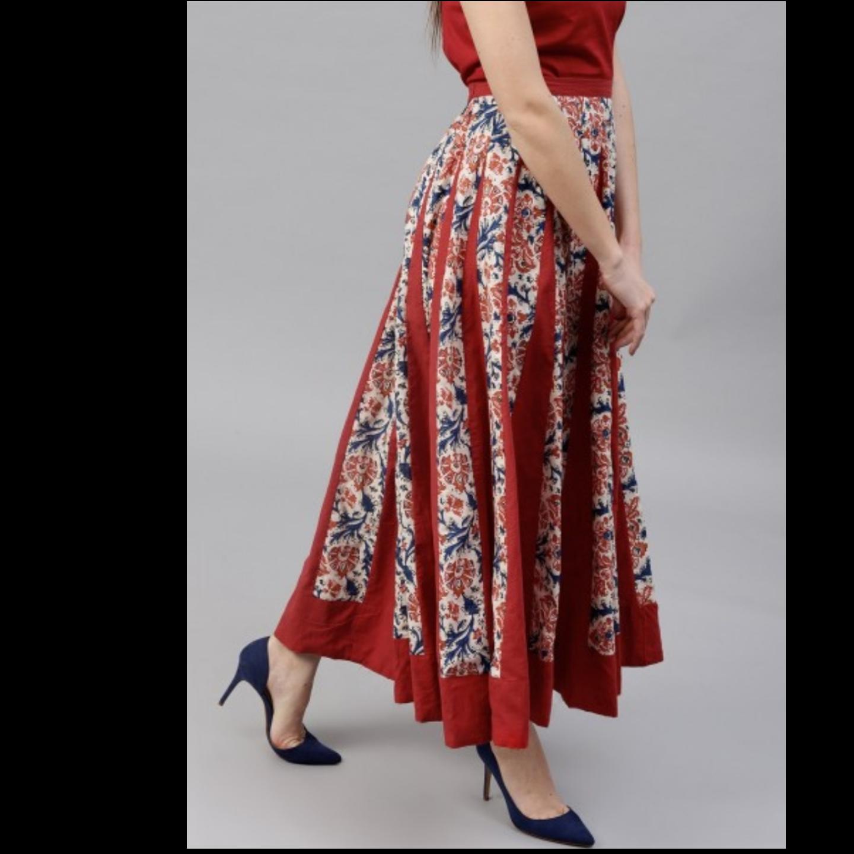Cream & Maroon Floral Printed Flared Skirt