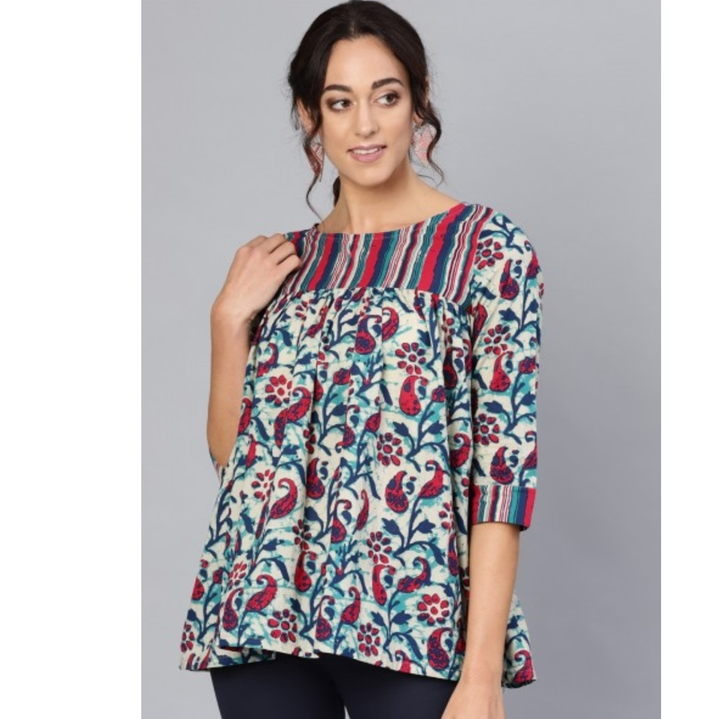 Multicolored Floral Printed Tunic