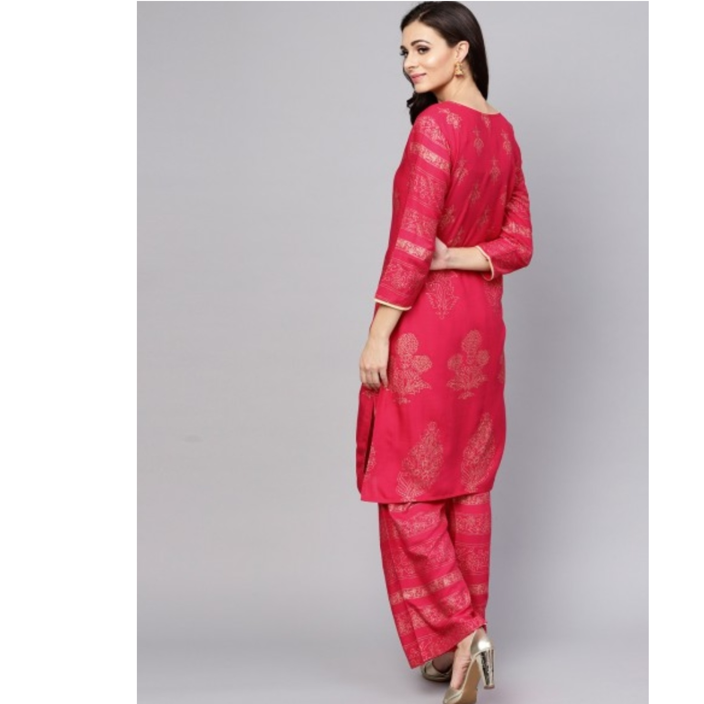 Pink Gold Printed Straight Kurta With Palazzo Set
