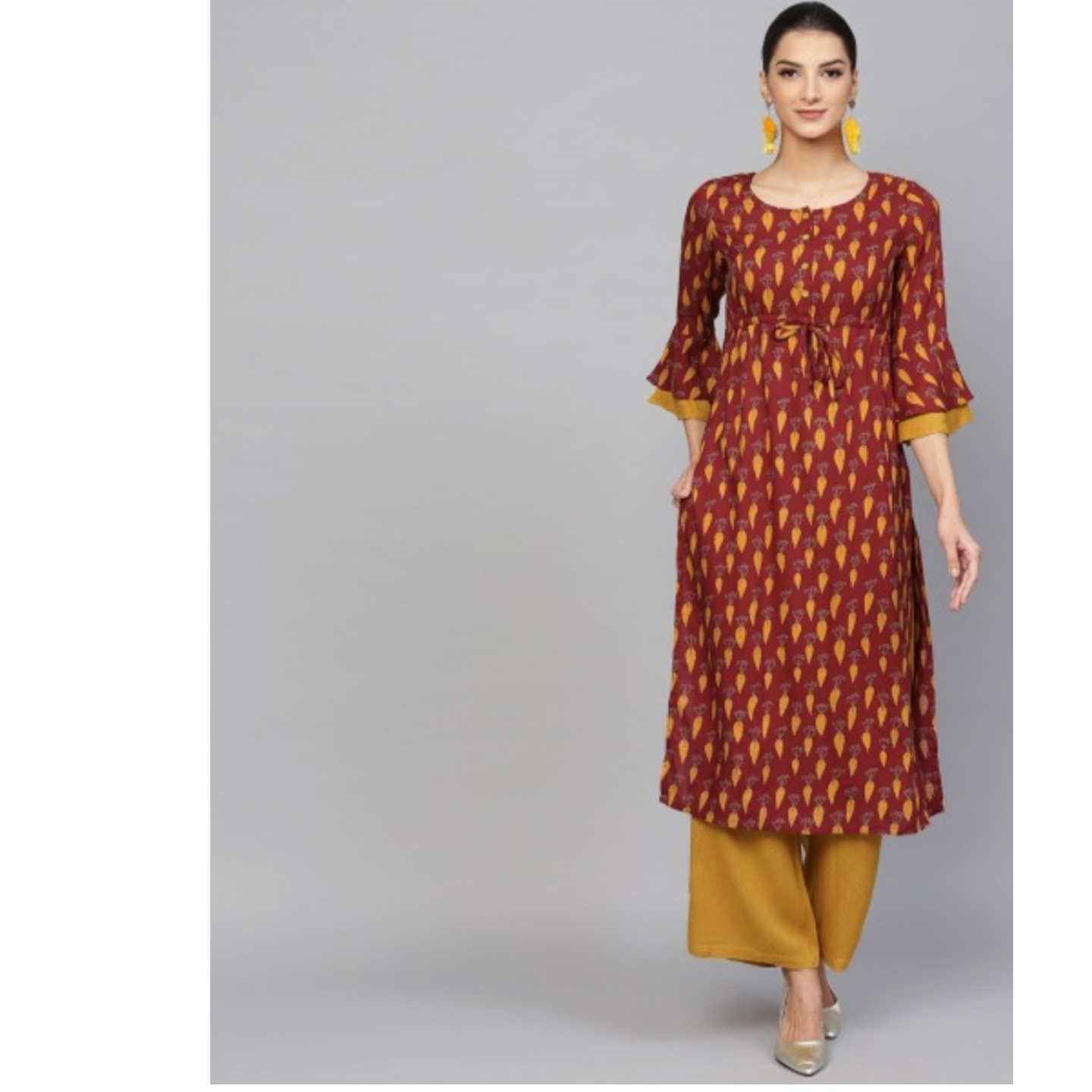 Maroon & Mustard Printed Kurta With Dobby Woven Design Palazzo Set