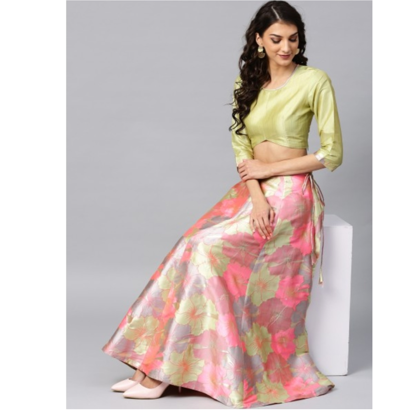 Pastel Green Big Floral Jacquard Design Lehenga & Solid Blouse Set