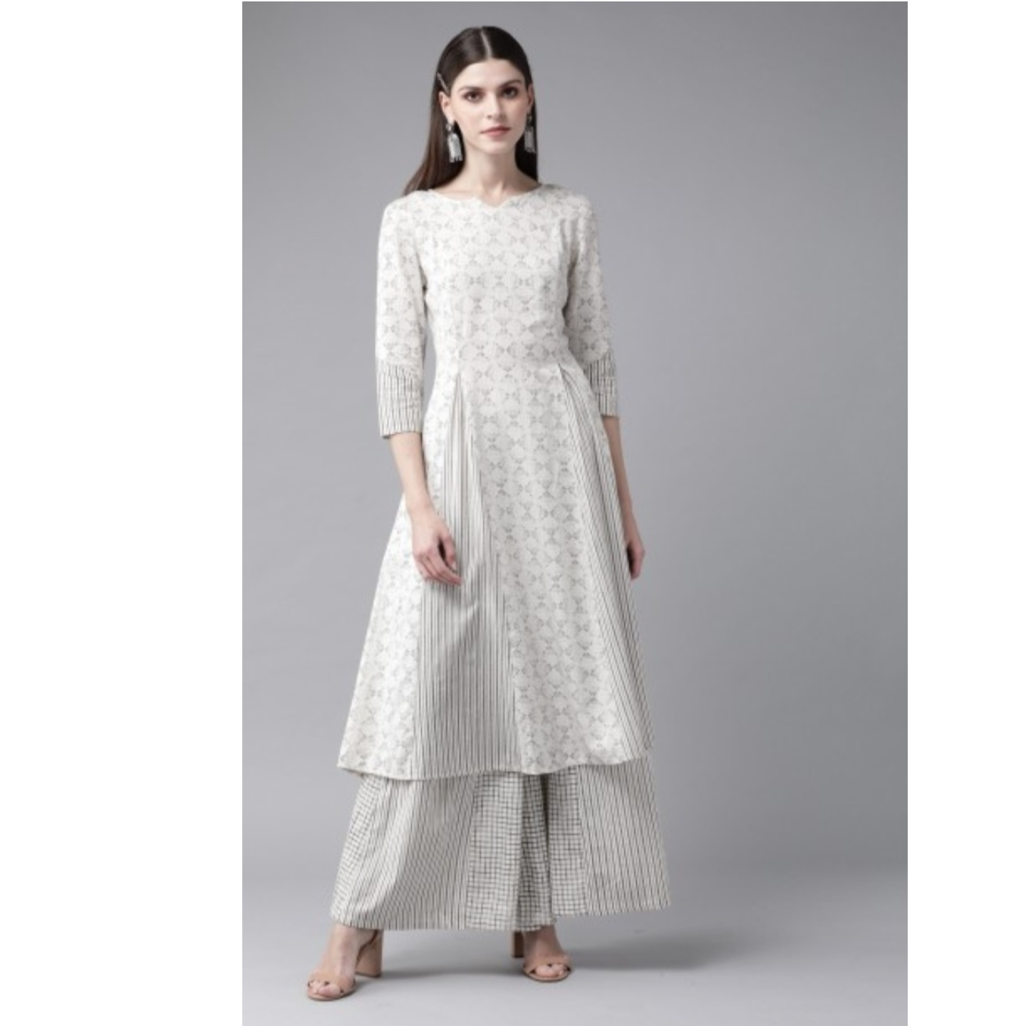 Off-White & Charcoal Grey Printed Kurta With Palazzos
