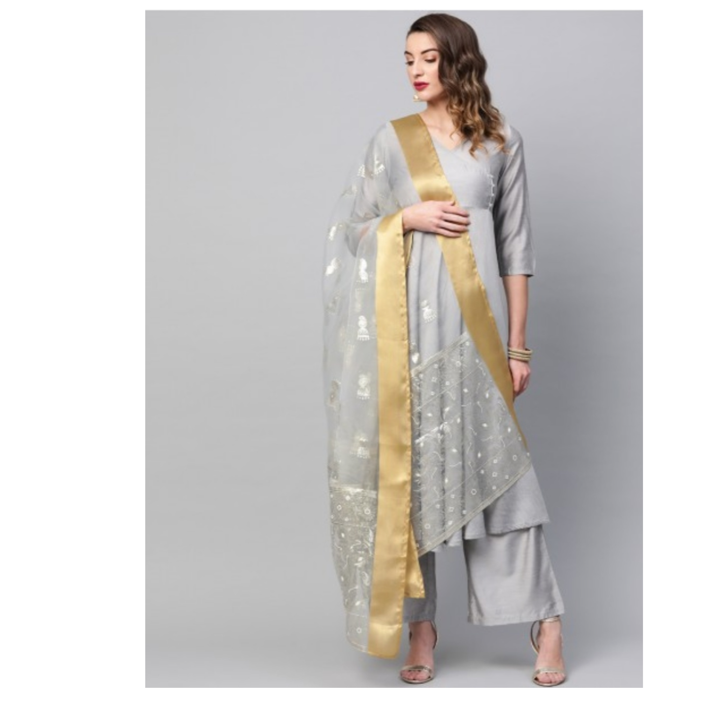 Grey Embellished Dupatta